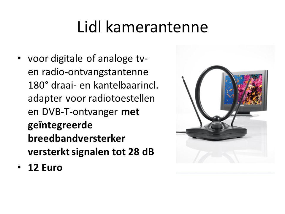 Lidl kamerantenne • voor digitale of analoge tv- en radio-ontvangstantenne 180° draai- en kantelbaarincl. adapter voor radiotoestellen en DVB-T-ontvan