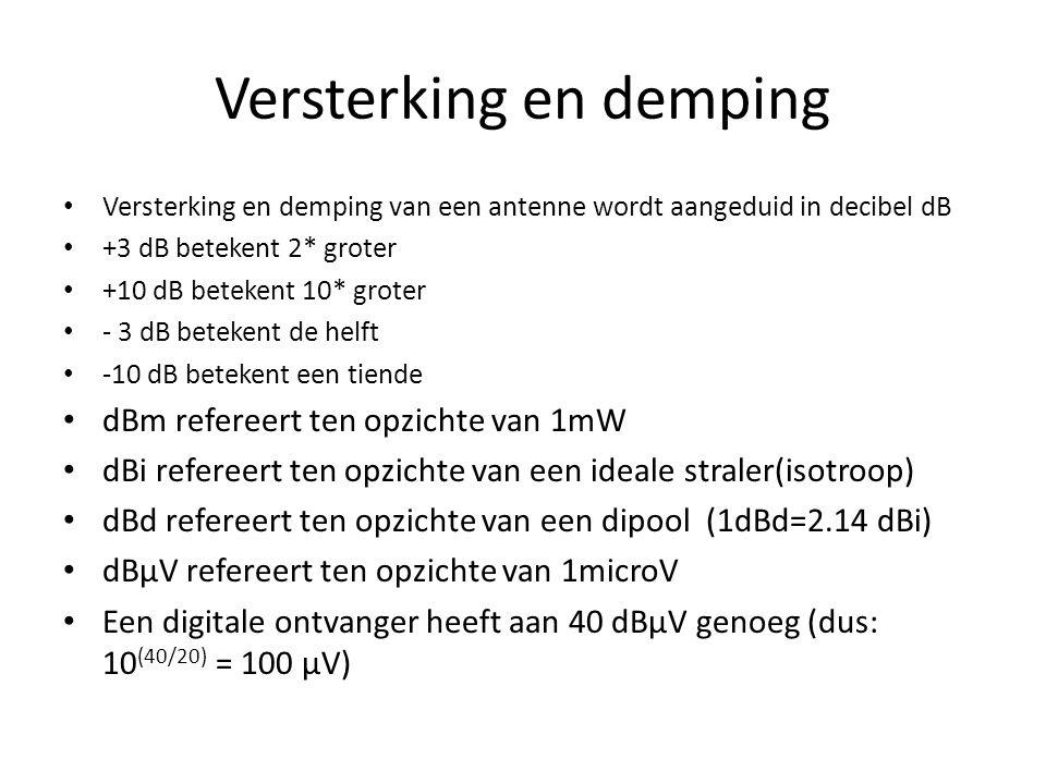 Versterking en demping • Versterking en demping van een antenne wordt aangeduid in decibel dB • +3 dB betekent 2* groter • +10 dB betekent 10* groter