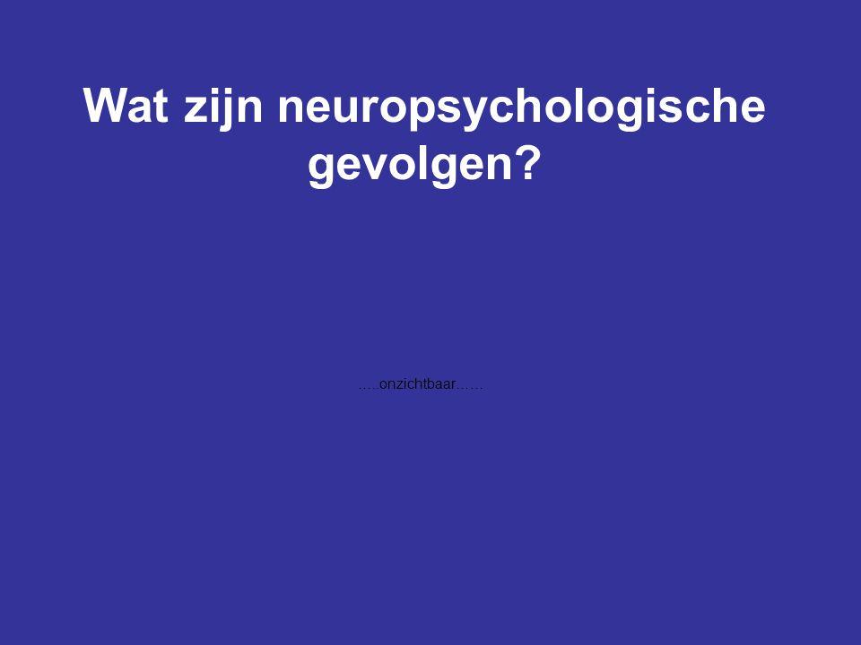 Wat zijn neuropsychologische gevolgen? …..onzichtbaar……