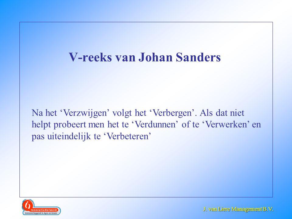 J. van Liere Management B.V. J. van Liere Management B.V. V-reeks van Johan Sanders Na het 'Verzwijgen' volgt het 'Verbergen'. Als dat niet helpt prob