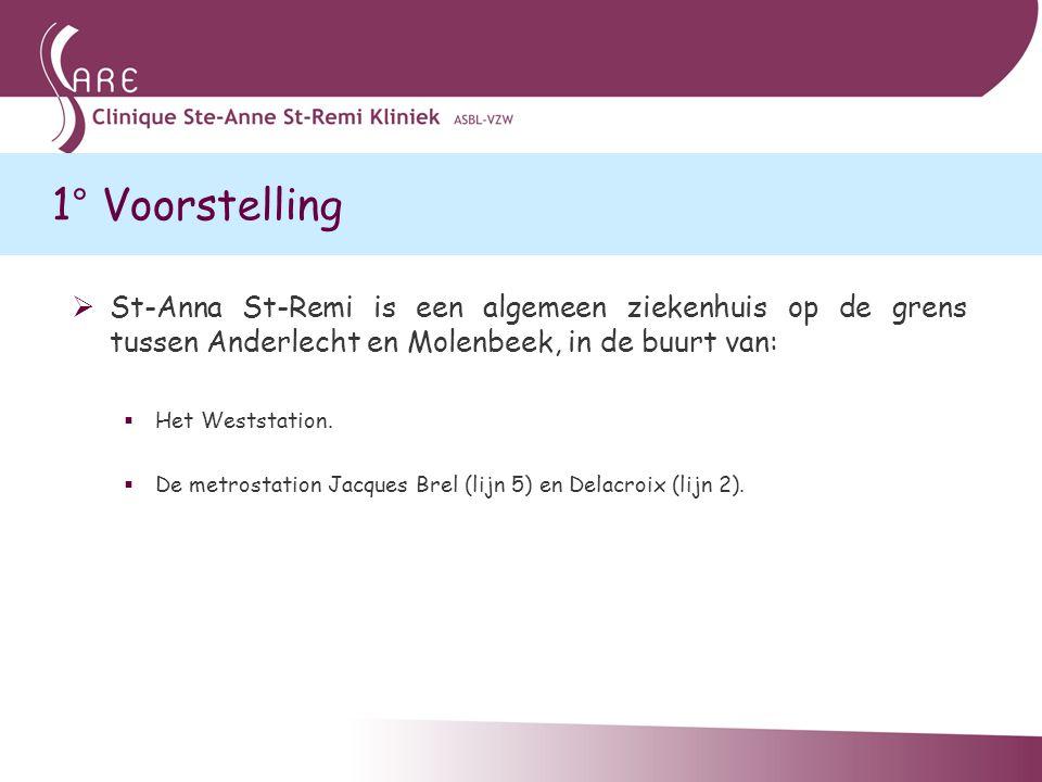 1° Voorstelling  St-Anna St-Remi is een algemeen ziekenhuis op de grens tussen Anderlecht en Molenbeek, in de buurt van:  Het Weststation.  De metr