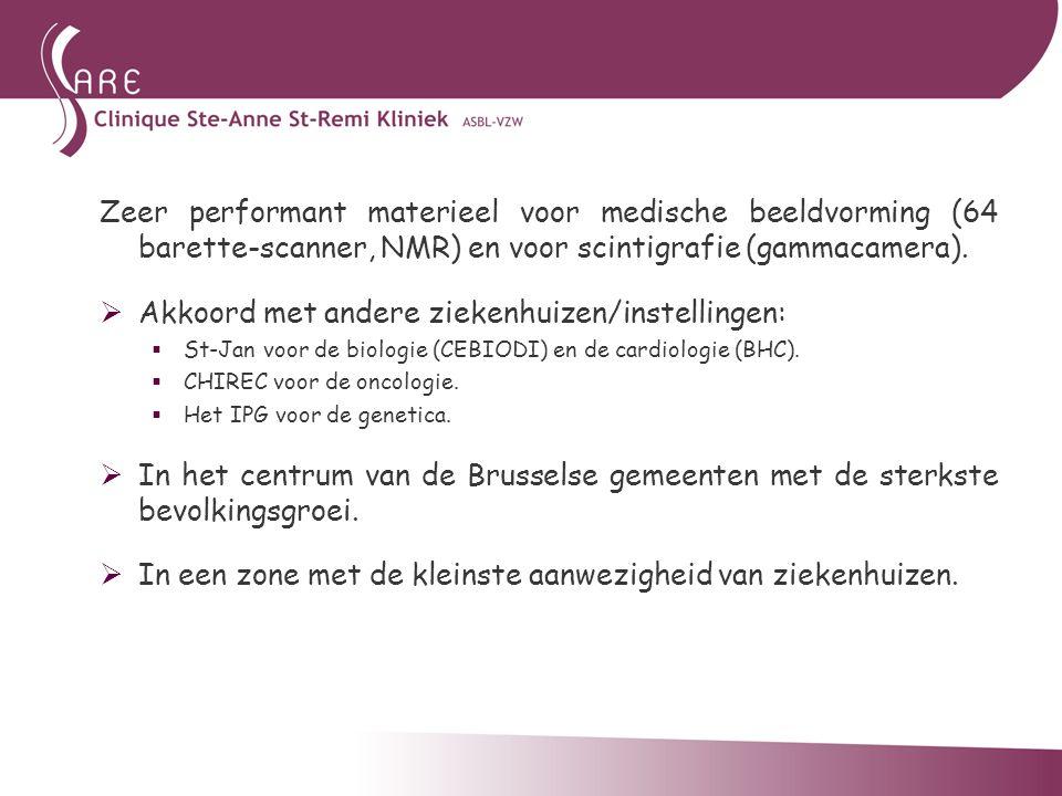 Zeer performant materieel voor medische beeldvorming (64 barette-scanner, NMR) en voor scintigrafie (gammacamera).  Akkoord met andere ziekenhuizen/i