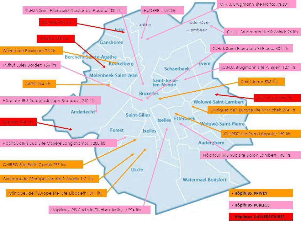 SARE: 264 lits Chirec site Basilique: 76 lits Cliniques de l'Europe site des 2 Alices: 161 lits CHIREC site Parc Léopold: 189 lits UCL St Luc: 975 lit
