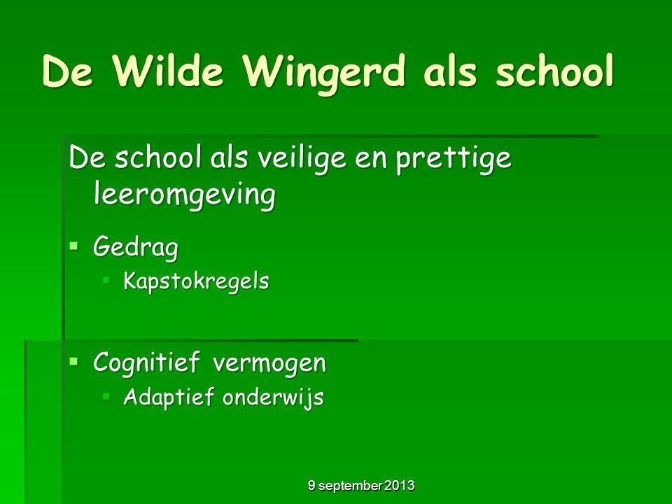 De Wilde Wingerd als school De school als veilige en prettige leeromgeving  Gedrag  Kapstokregels  Cognitief vermogen  Adaptief onderwijs 9 septem