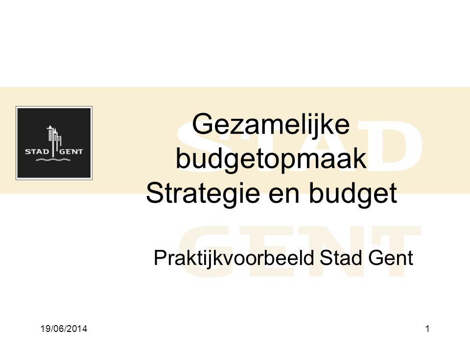19/06/20141 Gezamelijke budgetopmaak Strategie en budget Praktijkvoorbeeld Stad Gent