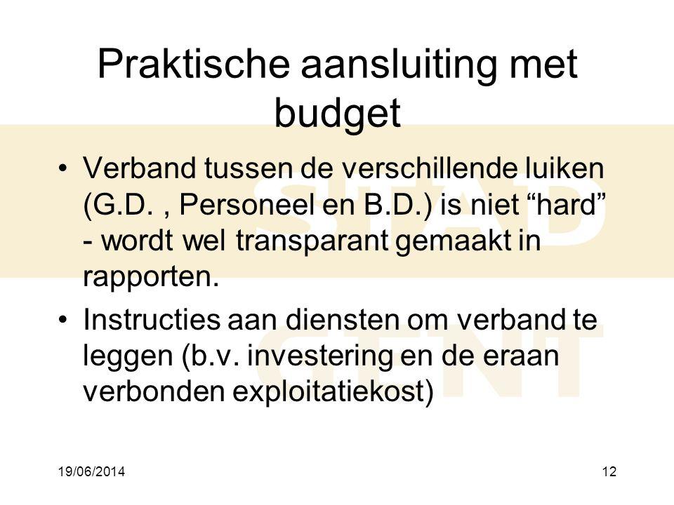 19/06/201412 Praktische aansluiting met budget •Verband tussen de verschillende luiken (G.D., Personeel en B.D.) is niet hard - wordt wel transparant gemaakt in rapporten.