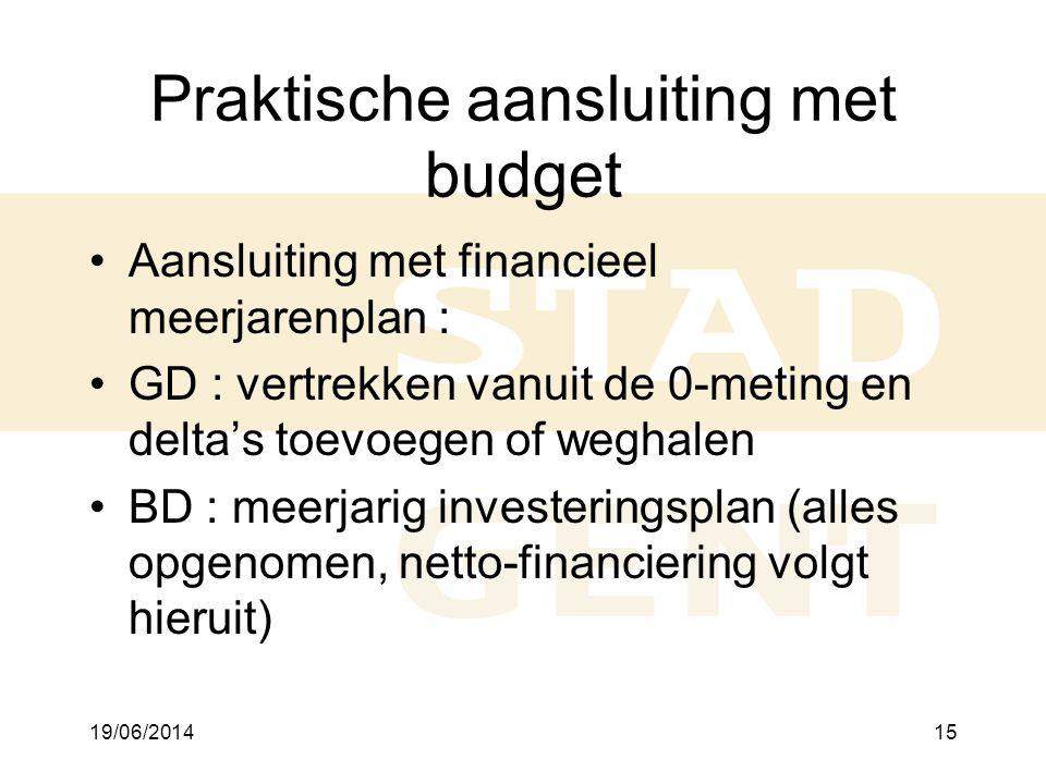19/06/201415 Praktische aansluiting met budget •Aansluiting met financieel meerjarenplan : •GD : vertrekken vanuit de 0-meting en delta's toevoegen of weghalen •BD : meerjarig investeringsplan (alles opgenomen, netto-financiering volgt hieruit)