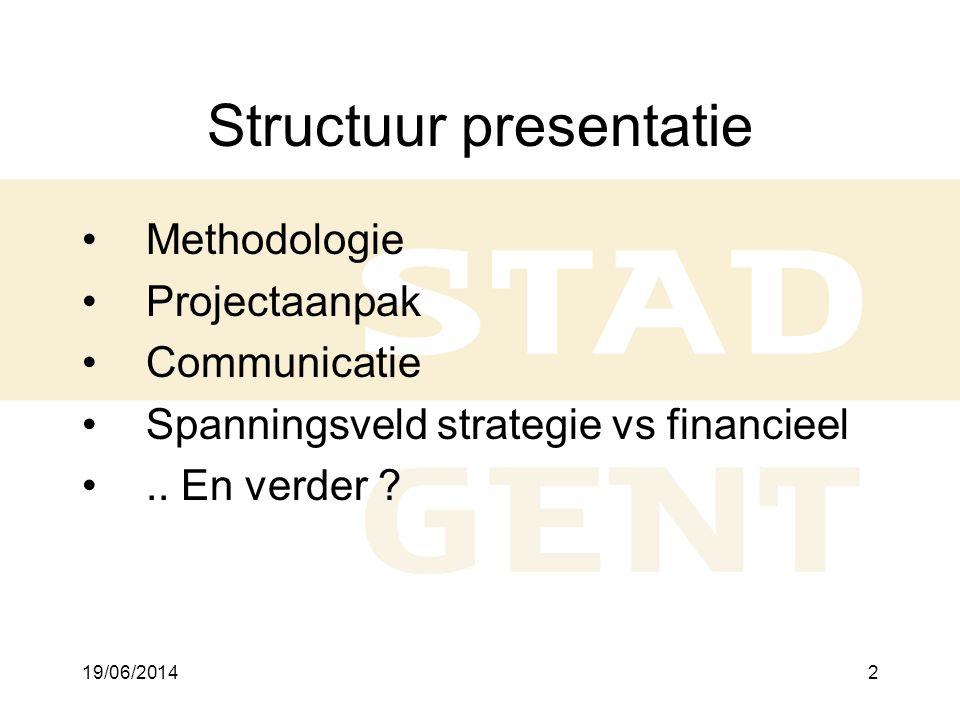 19/06/20143 1.Methodologie •Traject •Theoretisch schema •Genomen keuzes •Praktische aansluiting met budget