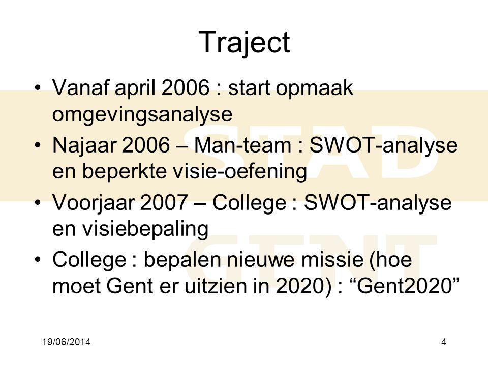 19/06/20144 Traject •Vanaf april 2006 : start opmaak omgevingsanalyse •Najaar 2006 – Man-team : SWOT-analyse en beperkte visie-oefening •Voorjaar 2007 – College : SWOT-analyse en visiebepaling •College : bepalen nieuwe missie (hoe moet Gent er uitzien in 2020) : Gent2020