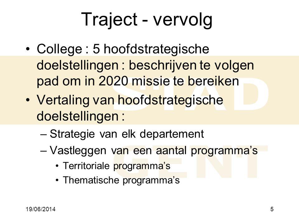 19/06/20145 Traject - vervolg •College : 5 hoofdstrategische doelstellingen : beschrijven te volgen pad om in 2020 missie te bereiken •Vertaling van hoofdstrategische doelstellingen : –Strategie van elk departement –Vastleggen van een aantal programma's •Territoriale programma's •Thematische programma's