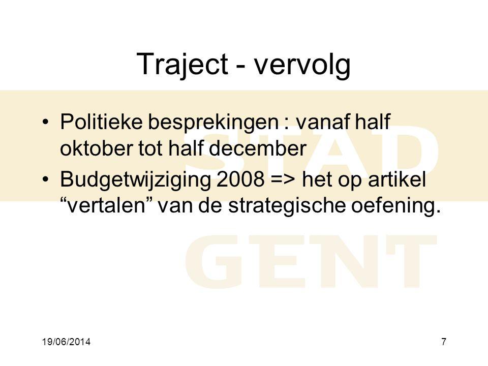 19/06/20148 Voorbeeld •Missie : Gent, een scheppende stad, die door een doorgedreven bundeling van alle creatieve krachten een voortrekkerrol speelt bij de ontwikkeling van een duurzame, solidaire en open samenleving •Hoofdstrategische doelstelling 1 : Kennis, innovatie en creativiteit : ten laatste in 2020 is Gent internationaal erkend als centrum voor innovatie en experimenten en is Gent een voortrekker in de evolutie naar een lerende en creatieve samenleving •SD financiën : Optimaliseren vh financieel beheer met het oog op efficiëntieverhoging en adm vereenvoudiging •Actie financiën : De vervroegde implementatie van SEPA