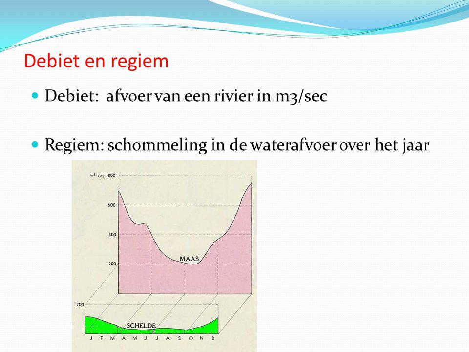 Debiet en regiem  Debiet: afvoer van een rivier in m3/sec  Regiem: schommeling in de waterafvoer over het jaar