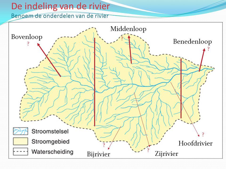 De indeling van de rivier Benoem de onderdelen van de rivier Bovenloop Benedenloop Middenloop Hoofdrivier Zijrivier Bijrivier .