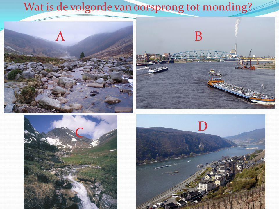 Wat is de volgorde van oorsprong tot monding? A D C B