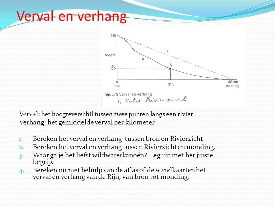 Verval en verhang Verval: het hoogteverschil tussen twee punten langs een rivier Verhang: het gemiddelde verval per kilometer 1. Bereken het verval en