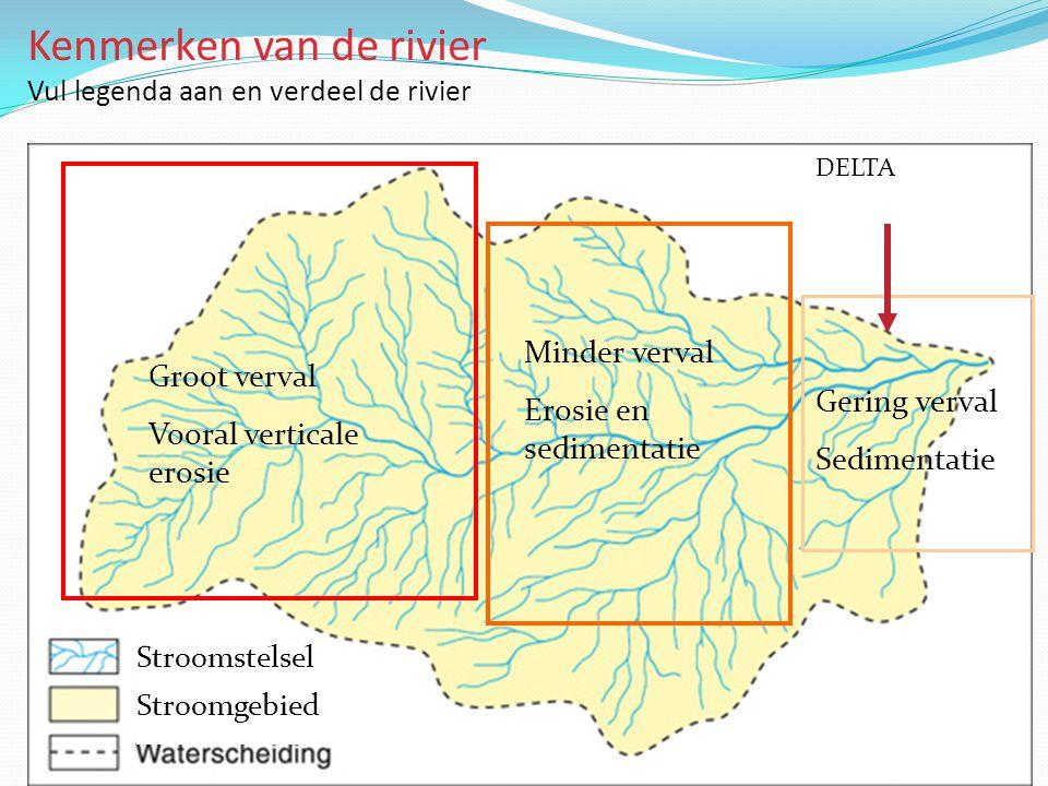 Kenmerken van de rivier Vul legenda aan en verdeel de rivier Stroomstelsel Groot verval Vooral verticale erosie Minder verval Erosie en sedimentatie G