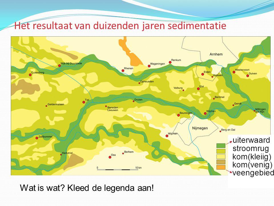 Het resultaat van duizenden jaren sedimentatie uiterwaard stroomrug kom(kleiig) kom(venig) veengebied Wat is wat? Kleed de legenda aan!