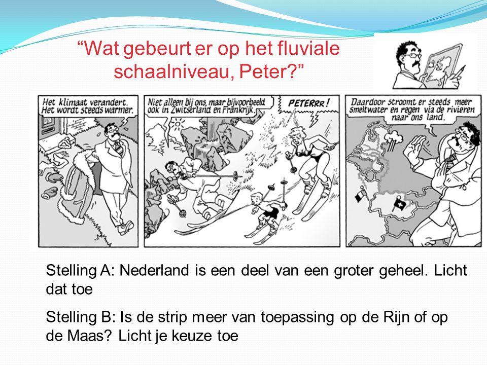 Stelling A: Nederland is een deel van een groter geheel. Licht dat toe Stelling B: Is de strip meer van toepassing op de Rijn of op de Maas? Licht je