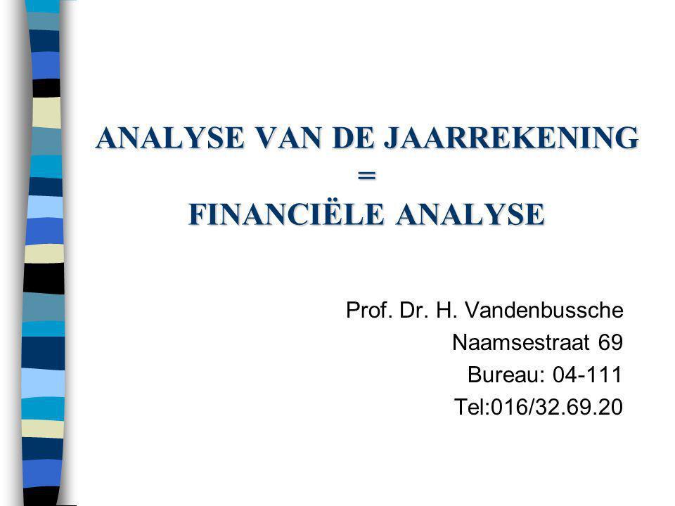 ANALYSE VAN DE JAARREKENING = FINANCIËLE ANALYSE Prof. Dr. H. Vandenbussche Naamsestraat 69 Bureau: 04-111 Tel:016/32.69.20