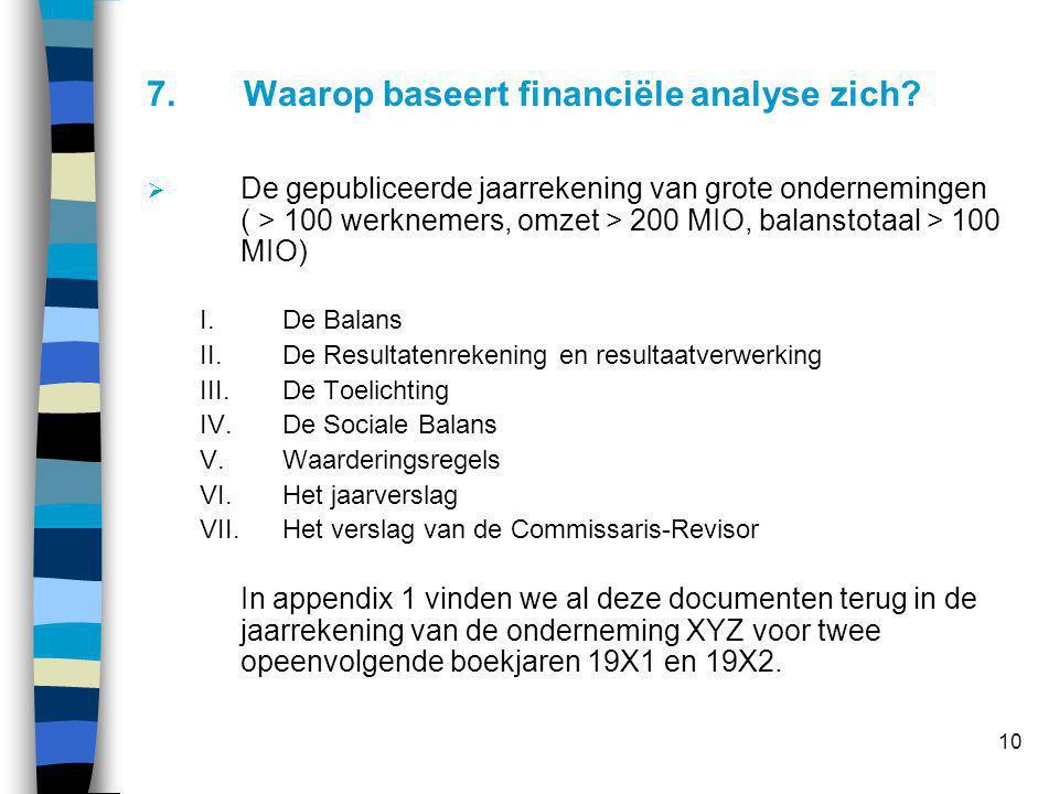10 7.Waarop baseert financiële analyse zich?  De gepubliceerde jaarrekening van grote ondernemingen ( > 100 werknemers, omzet > 200 MIO, balanstotaal
