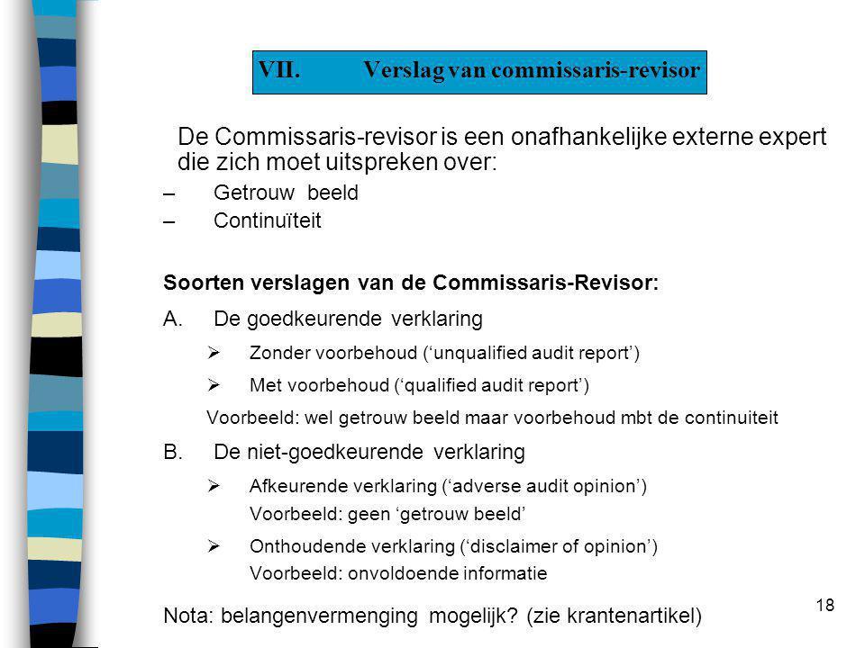 18 VII.Verslag van commissaris-revisor De Commissaris-revisor is een onafhankelijke externe expert die zich moet uitspreken over: –Getrouw beeld –Continuïteit Soorten verslagen van de Commissaris-Revisor: A.De goedkeurende verklaring  Zonder voorbehoud ('unqualified audit report')  Met voorbehoud ('qualified audit report') Voorbeeld: wel getrouw beeld maar voorbehoud mbt de continuiteit B.De niet-goedkeurende verklaring  Afkeurende verklaring ('adverse audit opinion') Voorbeeld: geen 'getrouw beeld'  Onthoudende verklaring ('disclaimer of opinion') Voorbeeld: onvoldoende informatie Nota: belangenvermenging mogelijk.