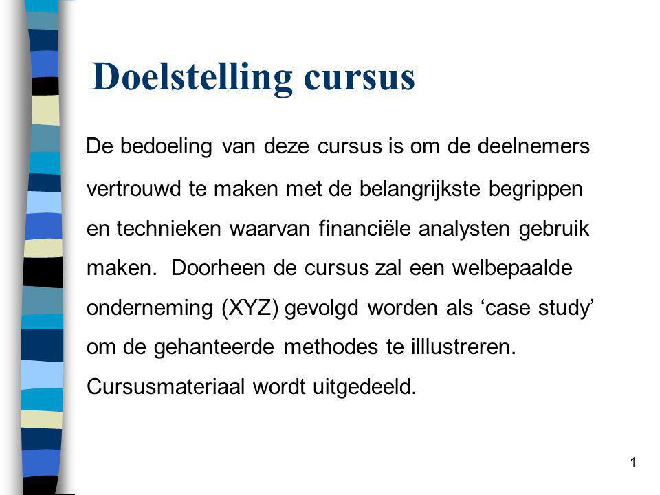 12 II.Resultatenrekening en resultaatverwerking Resultatenrekening (in staffelvorm) I.