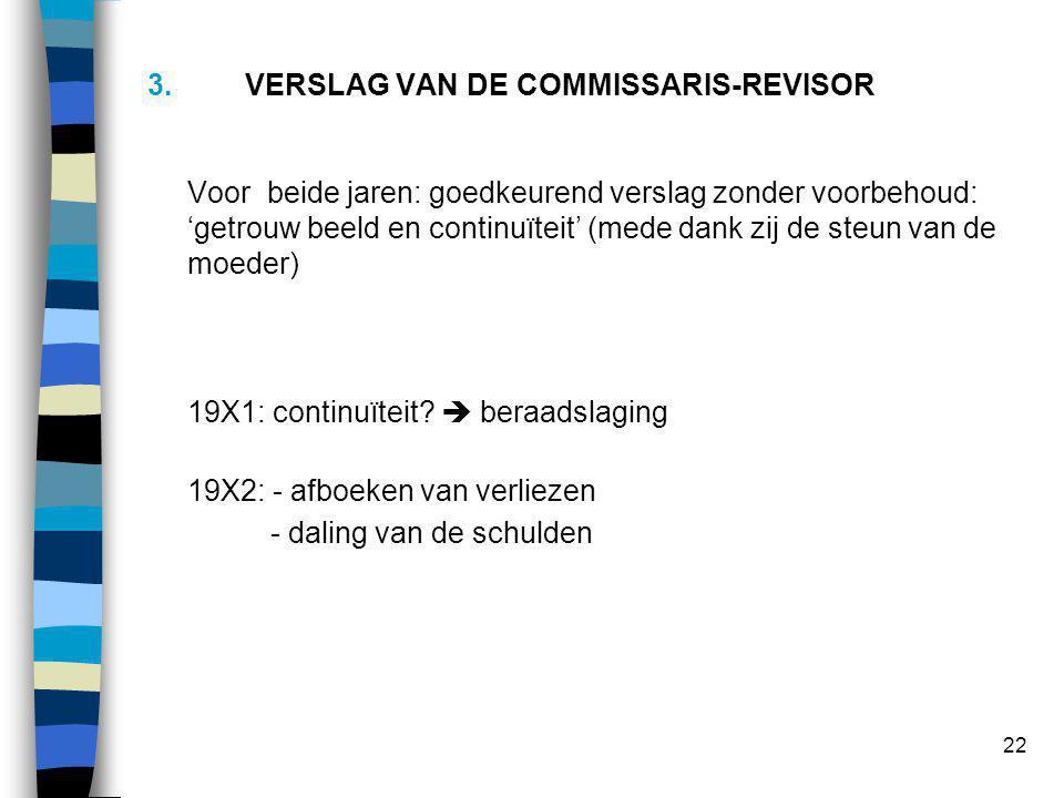 22 3.VERSLAG VAN DE COMMISSARIS-REVISOR Voor beide jaren: goedkeurend verslag zonder voorbehoud: 'getrouw beeld en continuïteit' (mede dank zij de steun van de moeder) 19X1: continuïteit.