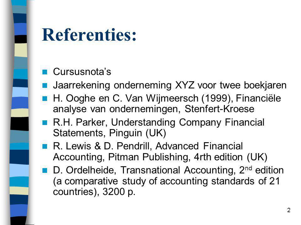2 Referenties:  Cursusnota's  Jaarrekening onderneming XYZ voor twee boekjaren  H. Ooghe en C. Van Wijmeersch (1999), Financiële analyse van ondern
