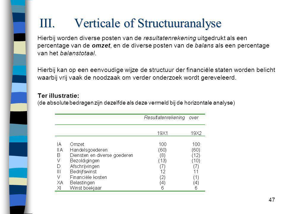 47 III.Verticale of Structuuranalyse Hierbij worden diverse posten van de resultatenrekening uitgedrukt als een percentage van de omzet, en de diverse posten van de balans als een percentage van het balanstotaal.