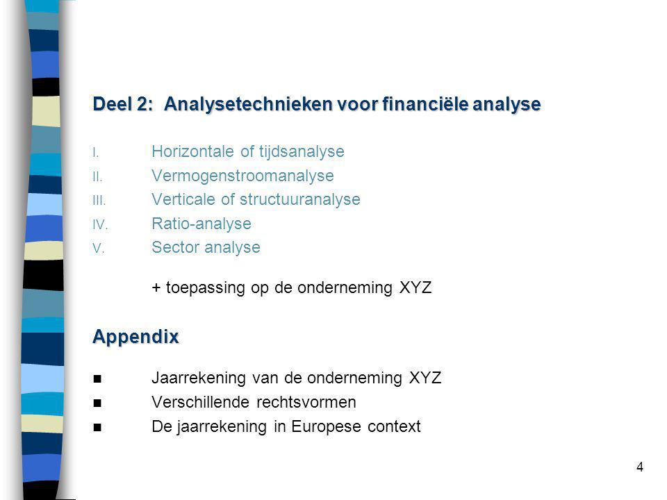 4 Deel 2: Analysetechnieken voor financiële analyse I. Horizontale of tijdsanalyse II. Vermogenstroomanalyse III. Verticale of structuuranalyse IV. Ra