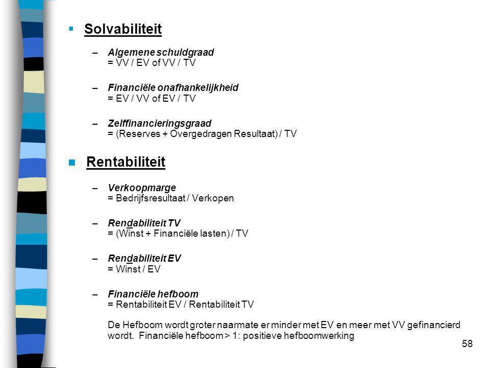 58  Solvabiliteit –Algemene schuldgraad = VV / EV of VV / TV –Financiële onafhankelijkheid = EV / VV of EV / TV –Zelffinancieringsgraad = (Reserves + Overgedragen Resultaat) / TV  Rentabiliteit –Verkoopmarge = Bedrijfsresultaat / Verkopen –Rendabiliteit TV = (Winst + Financiële lasten) / TV –Rendabiliteit EV = Winst / EV –Financiële hefboom = Rentabiliteit EV / Rentabiliteit TV De Hefboom wordt groter naarmate er minder met EV en meer met VV gefinancierd wordt.