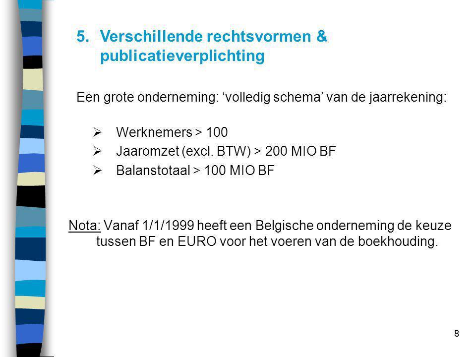 8 Een grote onderneming: 'volledig schema' van de jaarrekening:  Werknemers > 100  Jaaromzet (excl. BTW) > 200 MIO BF  Balanstotaal > 100 MIO BF No