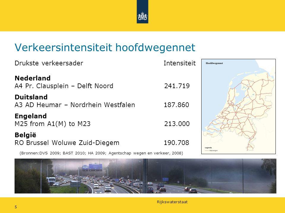 Rijkswaterstaat 5 Verkeersintensiteit hoofdwegennet Drukste verkeersader Intensiteit Nederland A4 Pr.