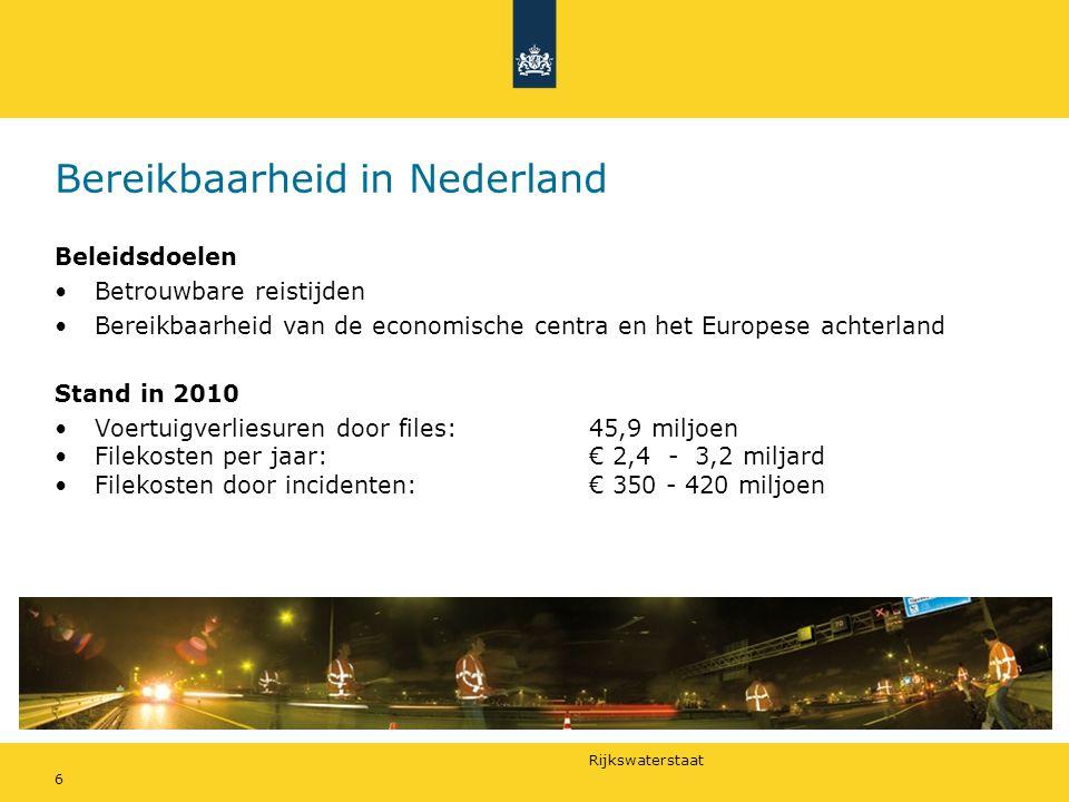 Rijkswaterstaat 6 Bereikbaarheid in Nederland Beleidsdoelen •Betrouwbare reistijden •Bereikbaarheid van de economische centra en het Europese achterland Stand in 2010 •Voertuigverliesuren door files:45,9 miljoen •Filekosten per jaar:€ 2,4 - 3,2 miljard •Filekosten door incidenten: € 350 - 420 miljoen
