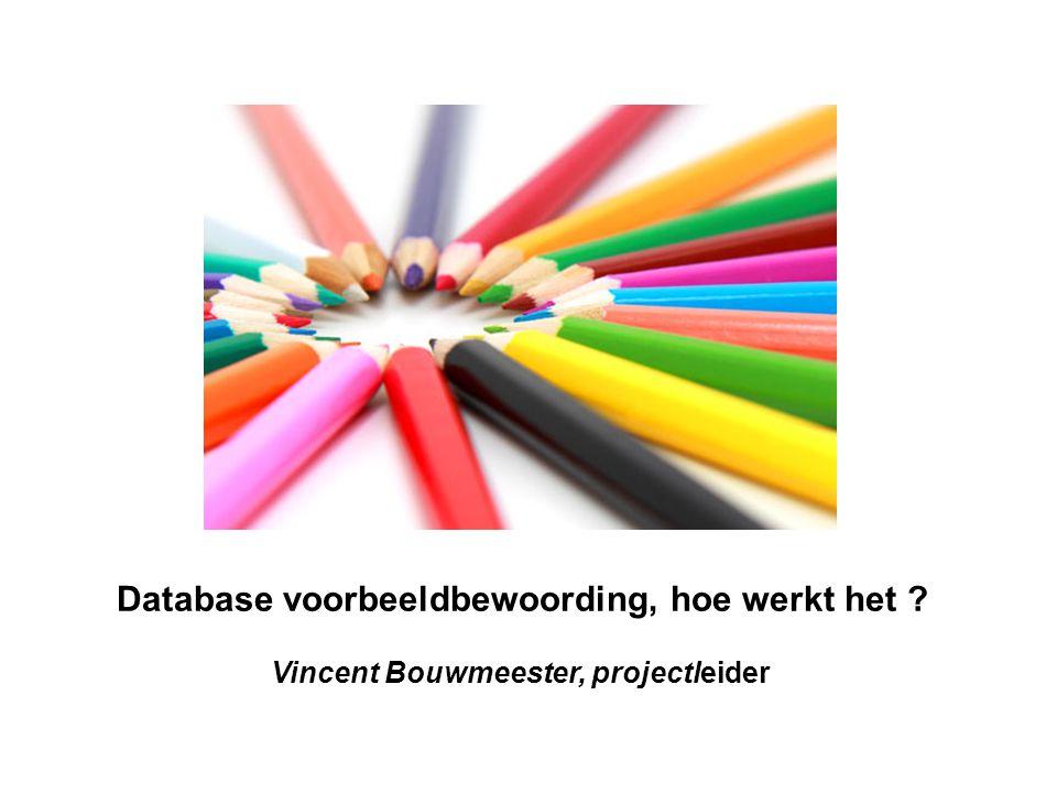 Database voorbeeldbewoording, hoe werkt het Vincent Bouwmeester, projectleider