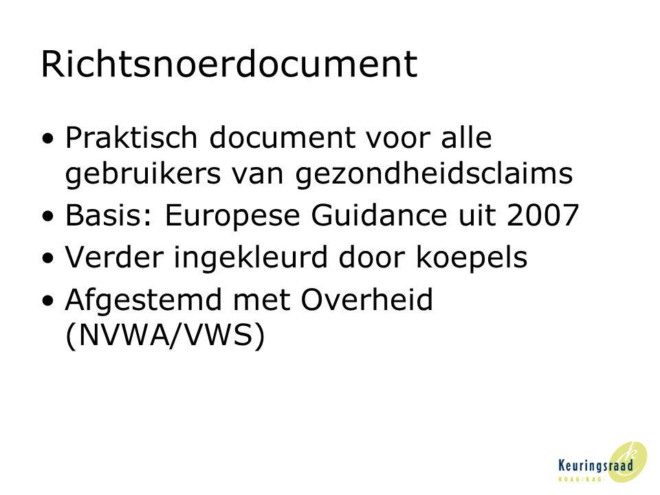 Richtsnoerdocument •Praktisch document voor alle gebruikers van gezondheidsclaims •Basis: Europese Guidance uit 2007 •Verder ingekleurd door koepels •Afgestemd met Overheid (NVWA/VWS)