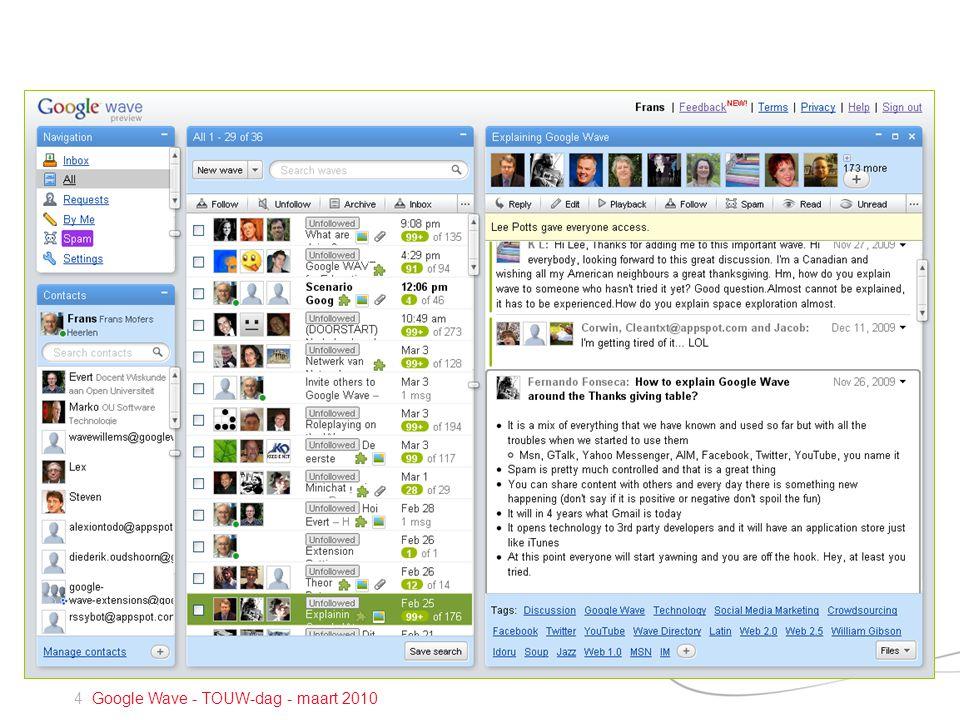 4 Google Wave - TOUW-dag - maart 2010