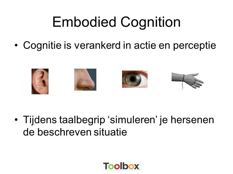 Embodied Cognition •Cognitie is verankerd in actie en perceptie •Tijdens taalbegrip 'simuleren' je hersenen de beschreven situatie