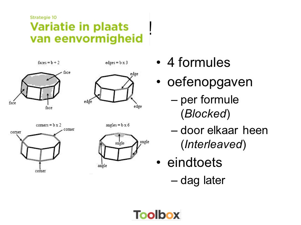 ! •4 formules •oefenopgaven –per formule (Blocked) –door elkaar heen (Interleaved) •eindtoets –dag later