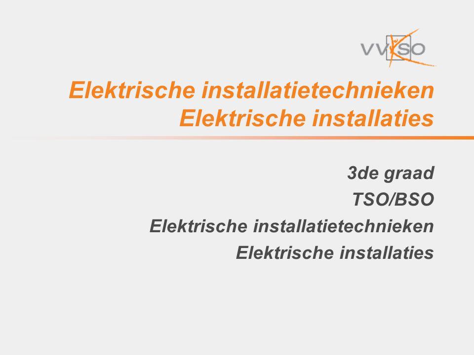Elektrische installatietechnieken • Lessentabel • 3de graad TSO Elektrische installatietechnieken Vorige lessentabel ( D/2004/0279/052 ): Automatisering 3 3 TV Elektriciteit/Elektromechanica/Elektronica Elektriciteit en lab 4-6 4-6 TV Elektriciteit/Elektromechanica/Elektronica Installatiemethoden 3-5 3-5 TV Elektriciteit/Elektromechanica/Elektronica Realisaties elektriciteit 8 8 PV + Stage Elektriciteit Nieuwe lessentabel D/2011/7841/011 Realisaties elektrische installatietechnieken 18-22 18-22 PV+TV+Stage Elektriciteit/Elektromechanica/Elektronica 19-6-201412