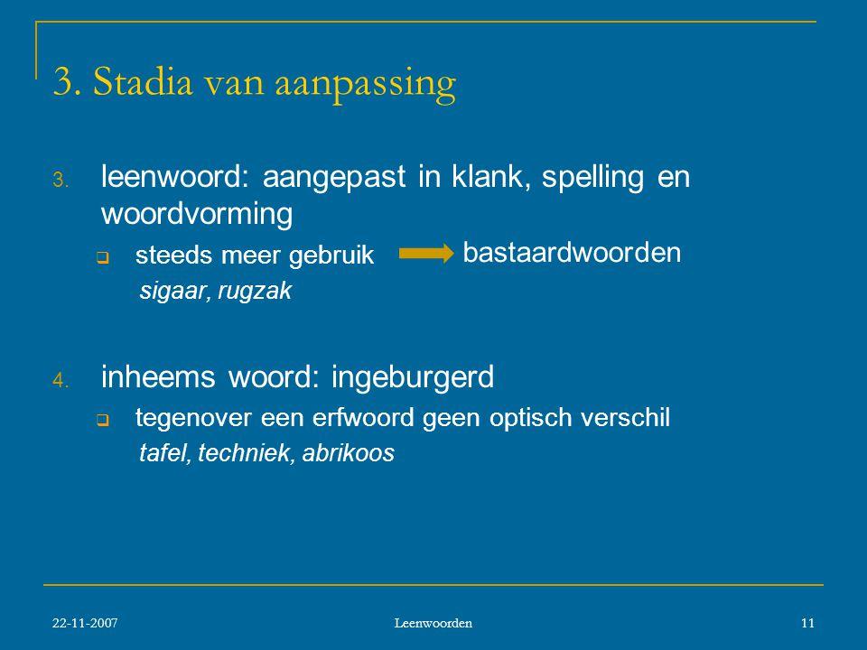 22-11-2007 Leenwoorden 11 3.Stadia van aanpassing 3.