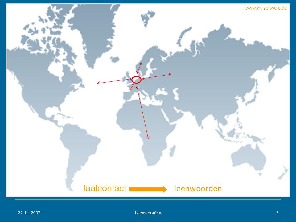 22-11-2007 Leenwoorden 2 taalcontact leenwoorden www.kh-software.de