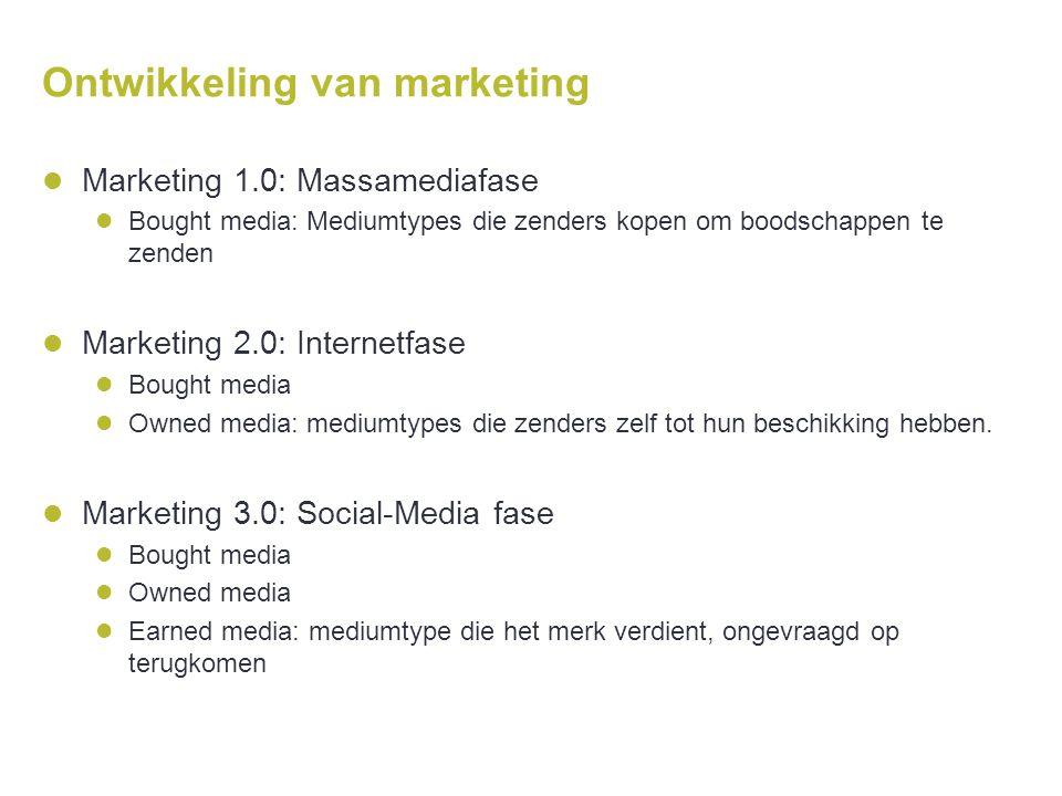 Ontwikkeling van marketing  Marketing 1.0: Massamediafase  Bought media: Mediumtypes die zenders kopen om boodschappen te zenden  Marketing 2.0: In