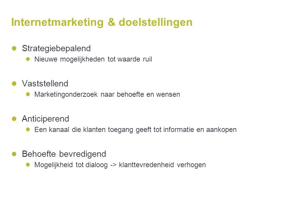 Internetmarketing & doelstellingen  Strategiebepalend  Nieuwe mogelijkheden tot waarde ruil  Vaststellend  Marketingonderzoek naar behoefte en wen