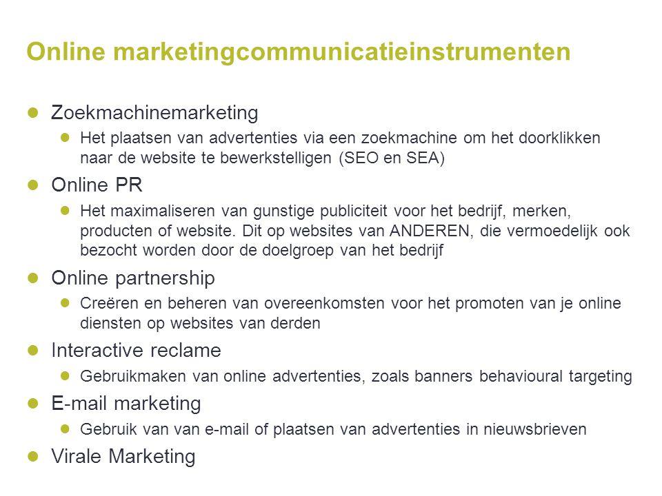 Online marketingcommunicatieinstrumenten  Zoekmachinemarketing  Het plaatsen van advertenties via een zoekmachine om het doorklikken naar de website