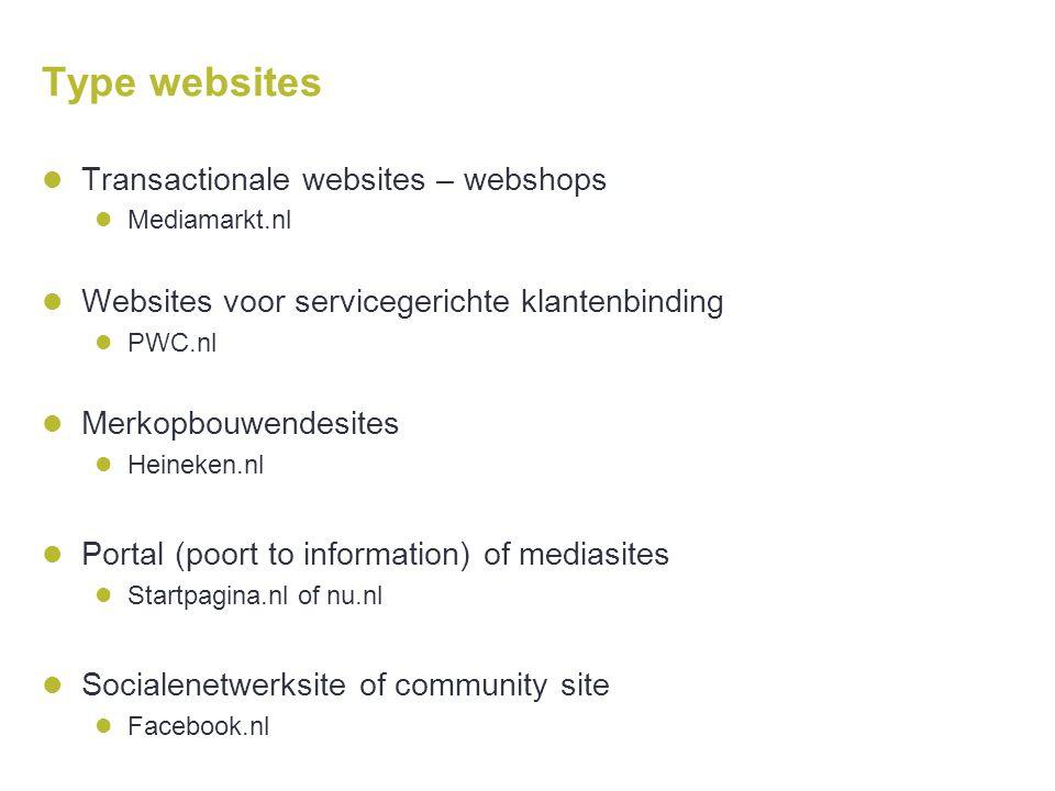 Type websites  Transactionale websites – webshops  Mediamarkt.nl  Websites voor servicegerichte klantenbinding  PWC.nl  Merkopbouwendesites  Hei