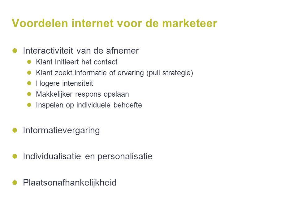 Voordelen internet voor de marketeer  Interactiviteit van de afnemer  Klant Initieert het contact  Klant zoekt informatie of ervaring (pull strateg
