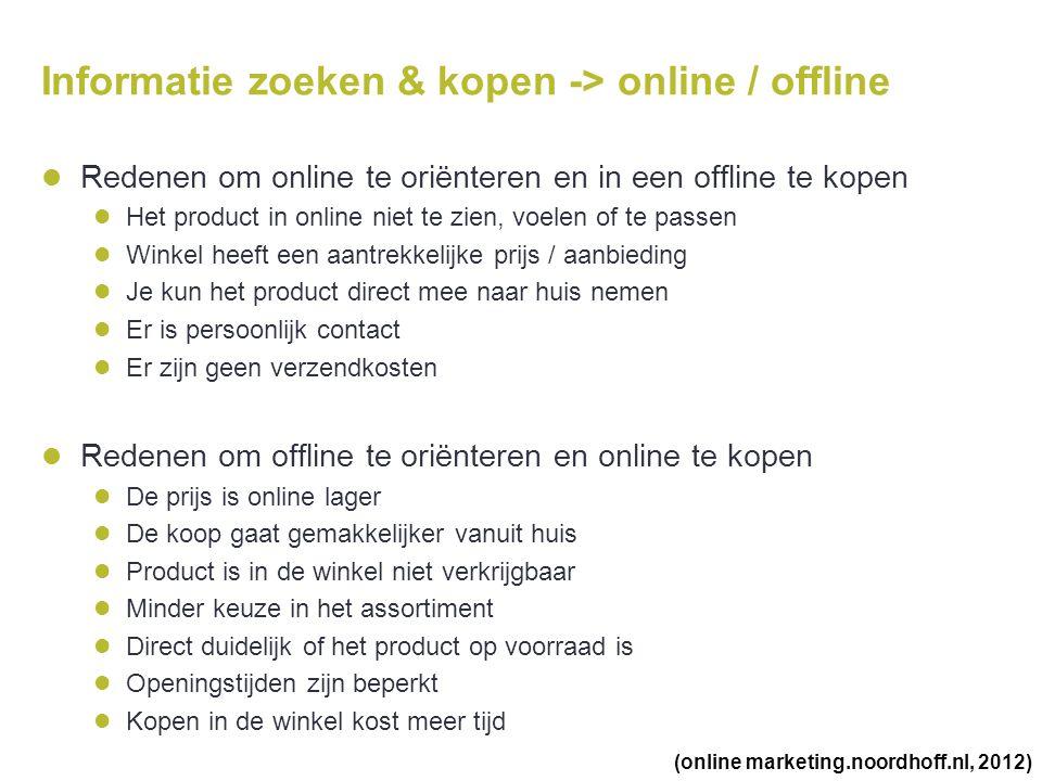 Informatie zoeken & kopen -> online / offline  Redenen om online te oriënteren en in een offline te kopen  Het product in online niet te zien, voele