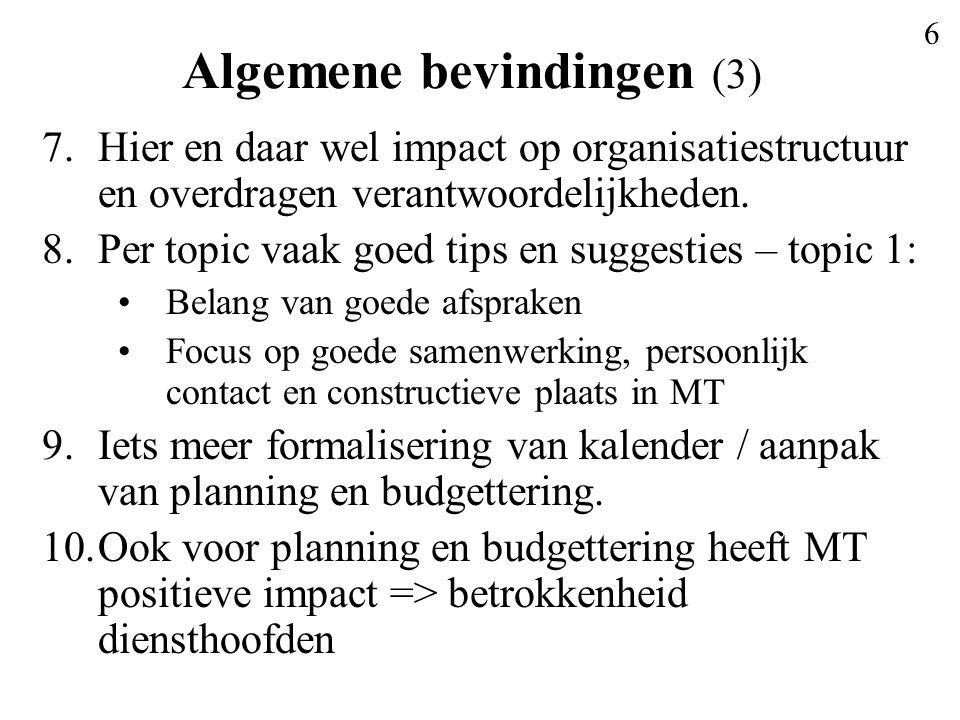 6 Algemene bevindingen (3) 7.Hier en daar wel impact op organisatiestructuur en overdragen verantwoordelijkheden.