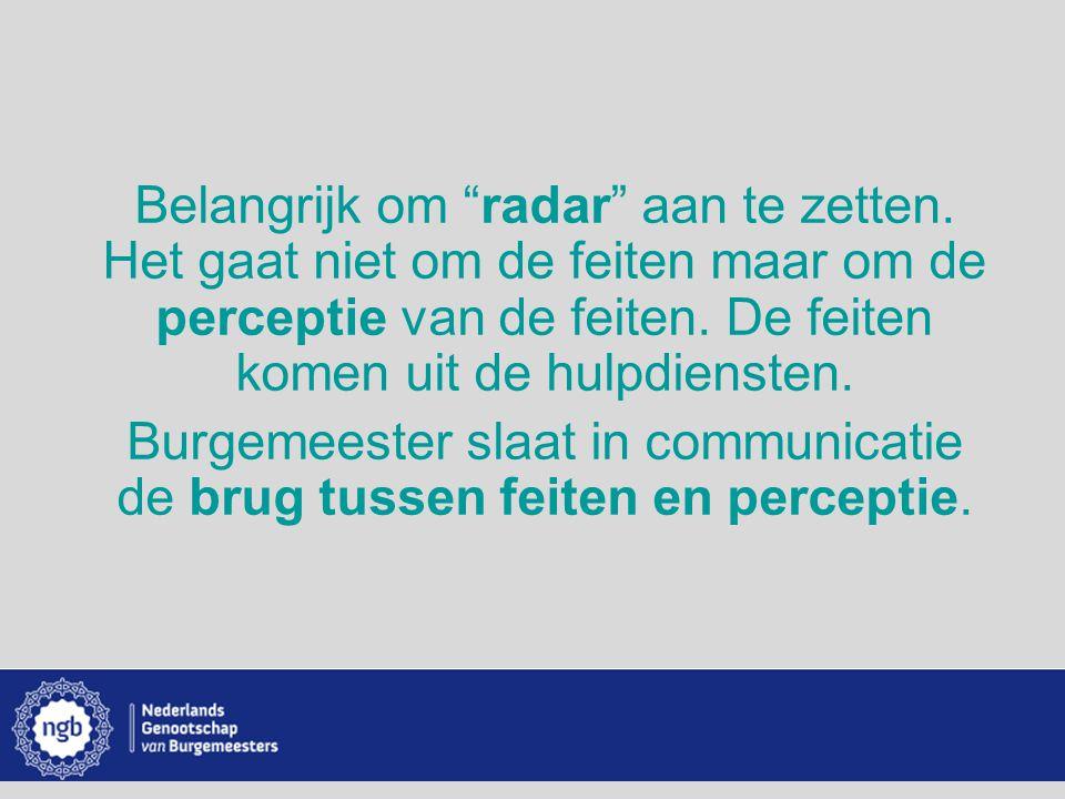 """www.burgemeesters.nl Belangrijk om """"radar"""" aan te zetten. Het gaat niet om de feiten maar om de perceptie van de feiten. De feiten komen uit de hulpdi"""